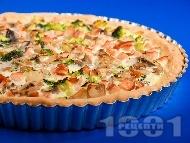 Рецепта Зеленчуков киш с шунка, гъби, броколи, яйца и сметана